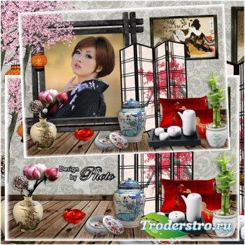 Рамка для фото в японском стиле - Ветка сакуры
