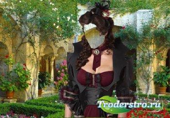 Фото шаблон - Леди в красивом саду