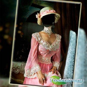 Шаблон для фотомонтажа - В розовом старинном наряде