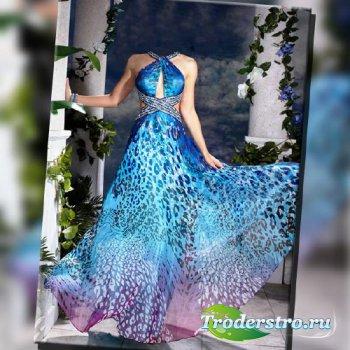 Шаблон для фотошопа - В синем платье