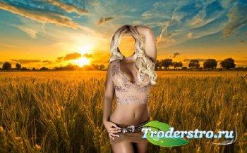 Шаблон для Photoshop - Шикарная блондинка в поле пшеницы