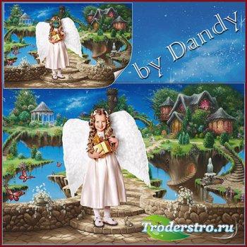 Шаблон для фотошопа - ангелочек в стране чудес