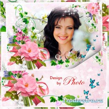 Цветочная фоторамка - Розовый рай