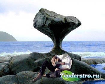 Шаблон для Photoshop - С гитарой сидя на камне