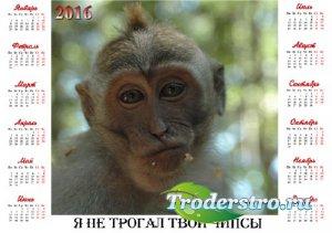 Календарь на 2016 год - Веселая обезьянка