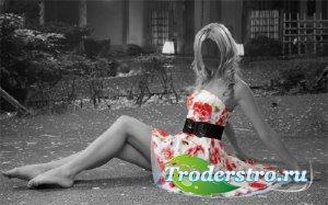 PSD шаблон для девушек - Цветное платье