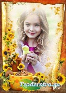 Детская рамочка для фотошопа - Летние солнечные цветы