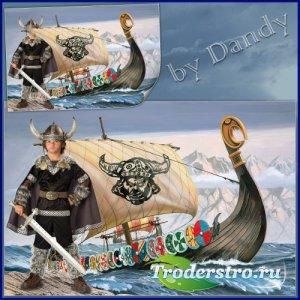 Шаблон для фотошопа - Викинг на фоне корабля