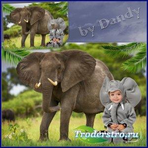 Шаблон для фотошопа - В костюме слоненка