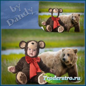 Шаблон для фотошопа - Маленький медвежонок