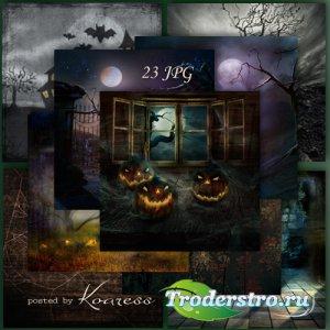 Подборка растровых jpg фонов для дизайна - Ночь на Хэллоуин