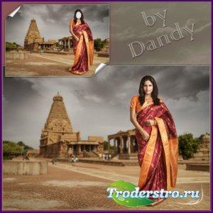 Шаблон для фотошопа - Индийская девушка в сари