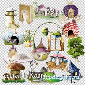 Детский клипарт на прозрачном фоне для дизайна - Замки, домики, кареты и др ...