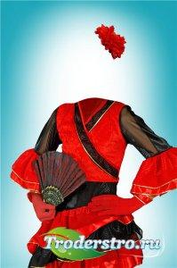 Фотошоп шаблон для девочек – В красном платье