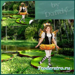 Шаблон для фотошопа - В костюме бабочки на кувшинке
