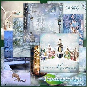 Фоны для дизайна - Волшебница-зима