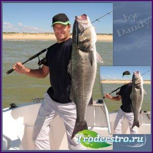 Шаблон для фотошопа - Удачная рыбалка на блесну