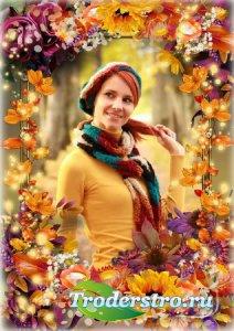 Осенняя рамка для оформления фото - Осенние листья по ветру кружат