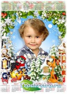 Календарь на 2016 год для детских фото с героями мультфильма Простоквашино