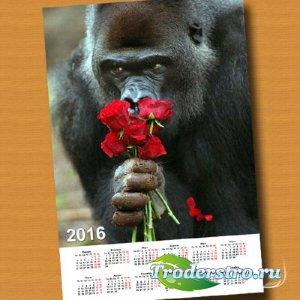 Календарная сетка - С букетом роз