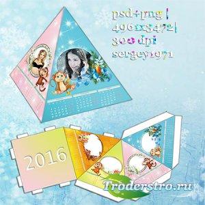 Настольный календарь-пирамидка на 2016 год - Год обезьяны