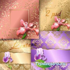 PSD исходники - Винтажные фоны с ирисом