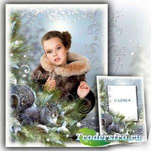 Фоторамка коллаж - Ёлка вытянула ветки, пахнет лесом и зимой