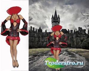 Шаблон для Photoshop - Вампирша в костюме