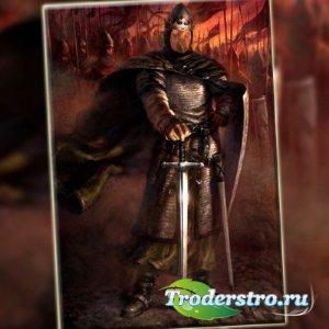 Шаблон psd мужской - Отважный король в бою