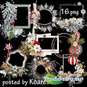 Подборка клипарта png для дизайна - Зимние, новогодние рамки-вырезы