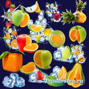 Клипарт PNG на прозрачном фоне - Стилизованные фрукты и лёд