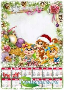 Новогодний календарь на 2016 год с вырезом для фото - Год Обезьяны