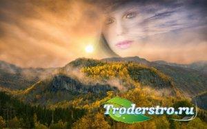 Рамка для фотошопа - Горный пейзаж осенью