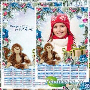Календарь с рамкой для фото на 2016 год - Встречаем Новый год