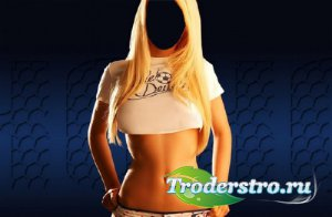 Photoshop шаблон - Спортивная блондинка