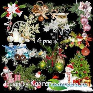 Клипарт на прозрачном фоне - Зимние праздничные кластеры