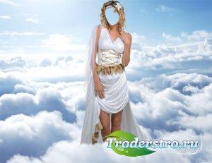 Шаблон для фото - Богиня в облаках