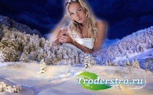 Фоторамка для фотошопа - Красивый зимний лес