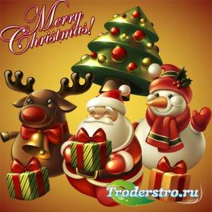 Смешной Санта, снеговик и олень - psd files