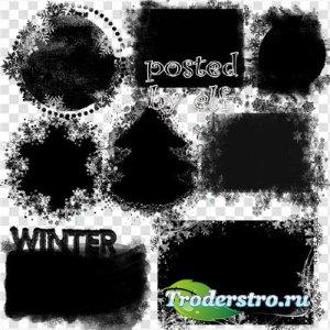 Клипарт на прозрачном фоне - Новогодние, зимние маски для фотошопа