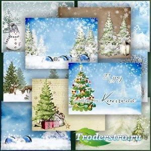 Растровые фоны для дизайна - Замела зима тропинки