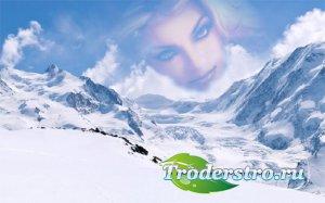 Фоторамка psd - Прекрасная зима в горах
