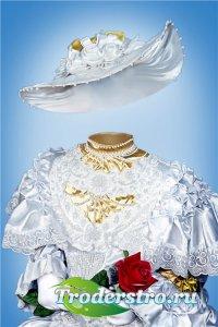 Фотошоп шаблон для девочек – В белом платье и с розой