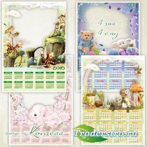Детские календари-рамки на 2016 год - В сказочной стране