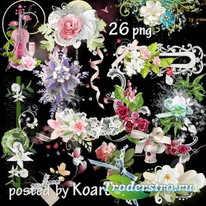 Подборка цветочных кластеров и бордюров в png для фотошопа - Весенние цветы