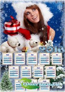 Красивый  календарь с рамкой для фото - Снежная зима