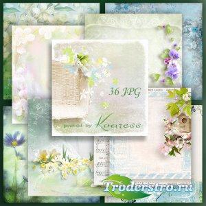 Подборка растровых весенних фонов для открыток и коллажей