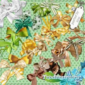 Клипарт на прозрачном фоне - Банты белые, желтые, зеленые, коричневые, голу ...