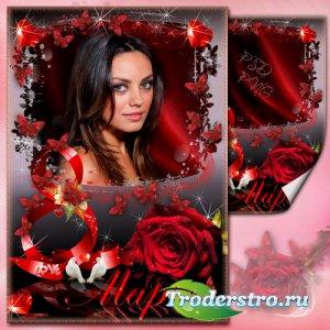 Рамка для фото к 8 марта - Красная роза на чёрном