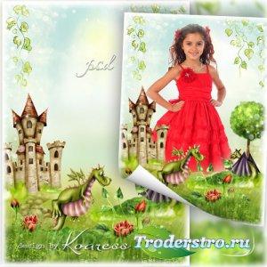 Рамка с симпатичными дракончиками для детских портретов - Волшебная страна